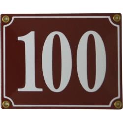 Emaljskylt rektangulär - Nummerskylt 100