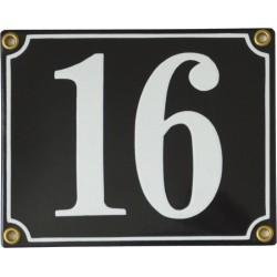 Emaljskylt rektangulär - Nummerskylt 16